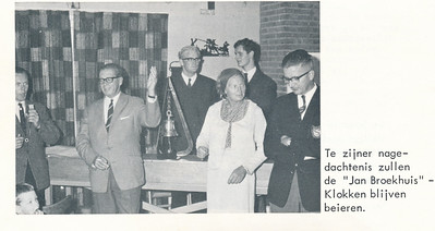 19670903 Onderschrift: zie foto Opmerking: gedeelte van deze foto gebruikt in Clubnieuws 28 (1967) 4, november, p. 33.  Vlnr: Jacques Eymans, Dick Ypes, Jan de Groot, Paula Broekhuis, Kie van Groningen, Engelberts (bond),   De Telescoop lustrumuitgave 1973 p. 24 Fotograaf: onbekend Formaat: 10 x 7 Afdruk zw
