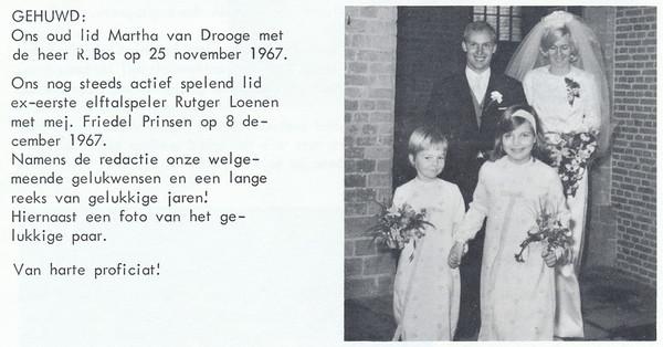 19671208 Onderschrift: zie foto  Opmerking: huwelijk Rutger en Friedel  Clubnieuws 29 (1968) 1, p. 30 Fotograaf: onbekend Formaat: 7 x 7 Afdruk zw