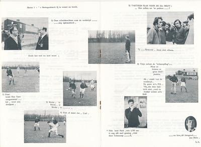 19710328 Onderschrift: zie foto  Opmerking: wedstrijd op 28 maart 1971 van Heren I tegen Den Bosch II om 14.30 uur. Scheidsrechters inderdaad Crommelin en Oudemans.  Foto midden boven Koos Pots. Foto rechtsboven vlnr: Eddie van Orden, Albert Visser (?), Han Ypes, Carl Broekhuysen, Albert Treffers, Maarten van Orden, Kees Zeylemaker  Foto links midden Han Ypes, daarna foto met Carl Broekhuysen, dan Thijs Schutte,  links onder Cees Zeylemaker, dan Huib Michielsen    Dit blad ook in Collectie Han Ypes.  N.B. op de achtergrond bij de foto van Huib Michielsen de foto van Ed van Orden en Peter Krudde.   Clubnieuws 32 (1970-1971) 34, 9 april 1971 p. 6 en 7 Fotograaf: Jan Hein Engel Formaat: 30 x 21 Afdruk zw