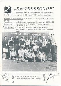 19720325 Onderschrift: zie foto  Opmerking: de Telescoop van 30 maart 1972 met een foto van Dames I  Deze foto verschilt licht van de andere originele foto in Archief DHV, maar is identiek aan die uit de collectie Han Ypes. .    Telescoop jrg. 33 (1971-1972) nr. 33 p. 1 Fotograaf :onbekend Formaat foto: 14 x 10 Afdruk zw