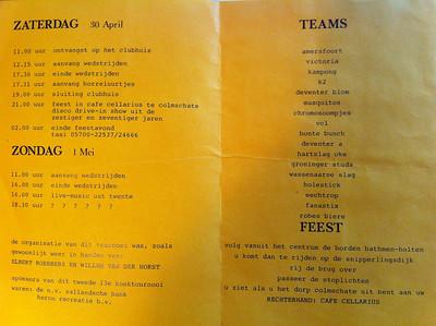 19830430 Programma Deventer Koekteornooi zaterdag 30 april 1983 en zondag 1 mei 1983. Zie De Telescoop 26 april 1983, p.10.  Collectie Willem van der Horst Digitaal.