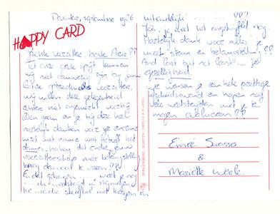 19860912 Onderschrift: hoort bij Algemene Ledenvergadering Deventer Hockey Vereniging dd 12 september 1986 Opmerking: briefkaart van Edmee Suasso en Mariette Werle   Collectie Van Noortwijk  Formaat: 15 x 11