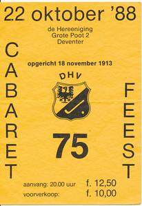 19881022 Toegangsbewijs feest lustrum 1988  Op achterzijde: Jeroen Kok   Collectie Jeroen Kok  Formaat: 10 x 15