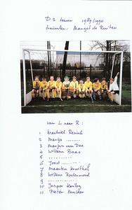 1989 Onderschrift: zie foto  Opmerking: zie Telescoop begin seizoen 1989-1990: p.12:  J D2: J. Weishut, P.  Mulder, W.J. Meerdink Veldboom, M. Kruithof, M. Resink, M. van Dee, M. Nieuwenhuis, J. Baas, J. Ruhe In Telescoop 1989-1990 nr3 29 augustus 1989 staat: coach: J. Mulder R. Kruithof toegevoegd zijn: Robert Jan Regout, Ernst Kasteleyn     Collectie Kruithof toegezonden als scan op 19 september 2012