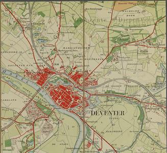 Kaart Deventer 1911 uitsnede van topografische kaart