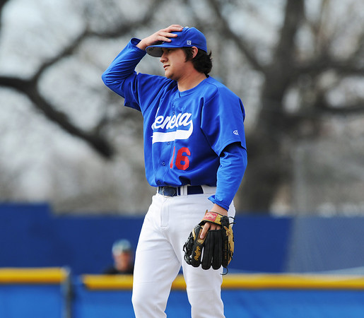 Globe/Roger Nomer<br /> Seneca pitcher Payton Rawlins had a tough opening inning against Nevada in Thursday's game at the Bill O'Dell Tournament.