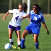 9-5-13<br /> Northwestern vs. Frankfort girls soccer<br /> Northwestern's Hannah Wilson and Frankfort's Esmeralda Valdes battle over control over the ball.<br /> KT photo | Kelly Lafferty