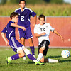 9-4-13<br /> Western vs. Northwestern soccer<br /> Western's Cody Cox tries to block the kick from Northwestern's Robert Olsen.<br /> KT photo | Kelly Lafferty