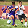 9-4-13<br /> Western vs. Northwestern soccer<br /> Northwestern's Benny Hernandez and Western's Mason May fight over control of the ball.<br /> KT photo | Kelly Lafferty