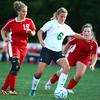 9-11-13<br /> Savannah Rees scores her 100th point in Eastern soccer<br /> Savannah Rees controls the ball in front of Maconaquah's Kirstyn Sommers and Reeann Clawson and goes on to score her 100th goal.<br /> KT photo | Kelly Lafferty