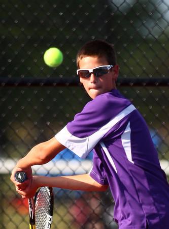 9-3-13<br /> Kokomo vs. Northwestern boys tennis<br /> NWHS 2 singles Clayton Douglass<br /> KT photo   Kelly Lafferty