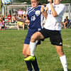 9-7-13  --  Western HS vs Oak Hill Girls Soccer<br /> Oak Hill's Maria Buckler and Western's #19 going for the ball.<br />    KT photo | Tim Bath