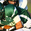 9-6-13  --  EHS vs Peru HS Football<br /> Cree Johnson being tackled by Peru's Larry Nice<br />    KT photo | Tim Bath