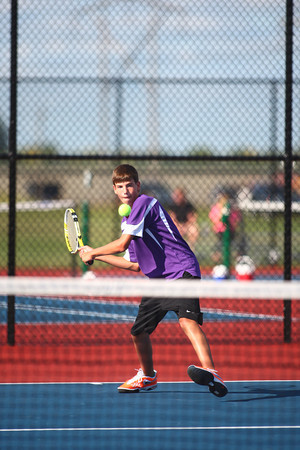 9-3-13<br /> Kokomo vs. Northwestern boys tennis<br /> NWHS 3 singles Kyle Douglass<br /> KT photo | Kelly Lafferty