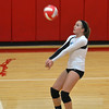 Cumberland's Lainey Jackson receives a serve during the Pirates' game with Effingham at the Crossroads Classic.