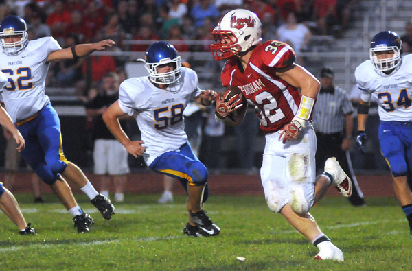 Effingham's Zach Miller carries the ball during the Flaming Hearts' week two loss to Paxton-Buckley-Loda.
