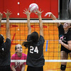 St. Anthony's Megan Nuxoll (back right) spikes a ball over the Effingham defense of Brittany Beals (front left) and Shelby Nunamaker (front right) while St. Anthony's Rachel Schultz (back left, pink) looks on at the Enlow Center.