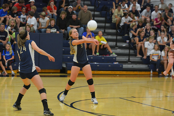 Teutopolis' Julie Wente receives the ball and digs it out during the Wooden Shoes' loss to Effingham.