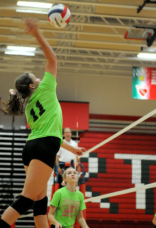 St. Anthony senior Logan Braunecker spikes the ball during the second set at Effingham High School.