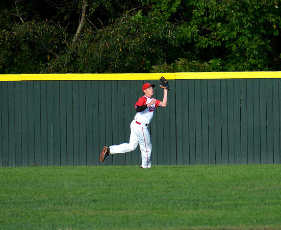 St. Anthony's Kyle Bourgeois catches a ball in center field during the Bulldogs' 1-0 loss to South Central in Kinmundy.