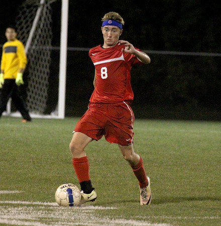 The Stars' Reece Thompson brings the ball up the field in the second half on Thursday.