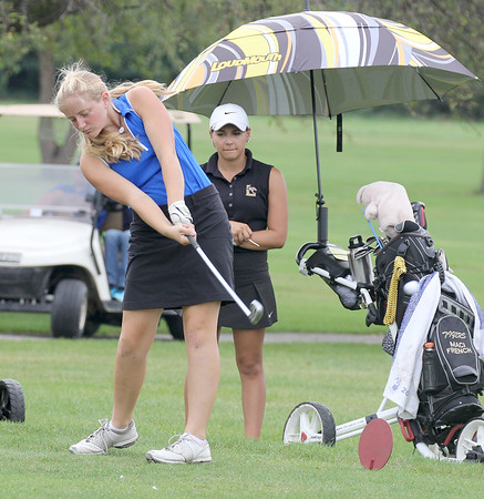 Lily Williamson tees off on the seventh hole Saturday at the Crawfordsville Sectional.