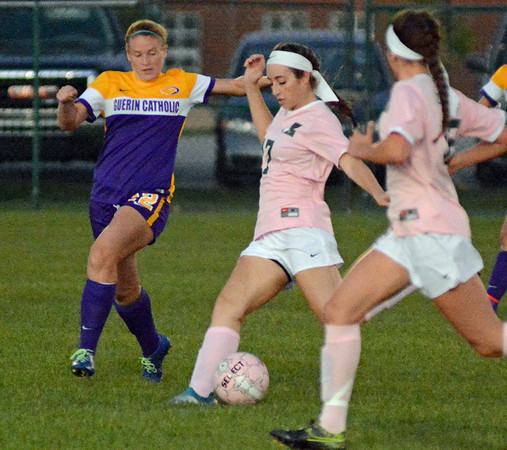 Zionsville's Amelia Wampler takes a shot in the first half against Guerin Catholic.