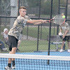 Lebanon's Tommy Kouns reaches for a backhand Thursday against Southmont.