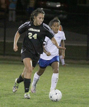 Brianna Martinez brings the ball up the field against Frankfort on Wednesday night.