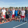 Photo submitted<br /> <br /> The Western Boone tennis seniors pose with their families prior to their senior night match against University.