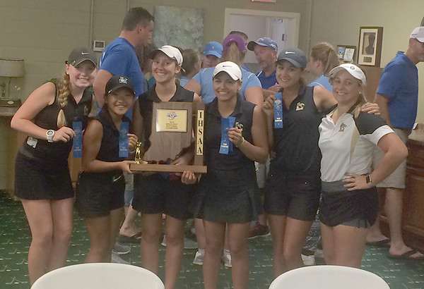 The Lebanon girls golf team poses with the sectional championship trophy on Saturday.
