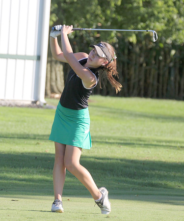 Times Sentinel File Photo<br /> Zionsville's Avery VonDielingen watches her tee shot earlier this season. VonDielingen shot a 3-under 68 to be medalist of the Brownsburg Sectional on Saturday, Sept. 17.