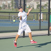 Zionsville's No. 1 singles player Eddie Lin hits a forehand Tuesday against Lebanon.