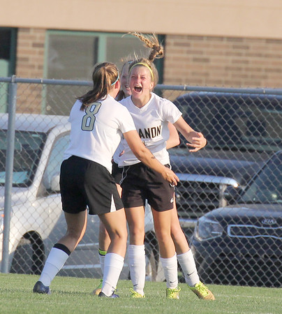 Lebanon's Lily Haines celebrates with teammate Alyna Sell after Haines' second-half goal on Tuesday.