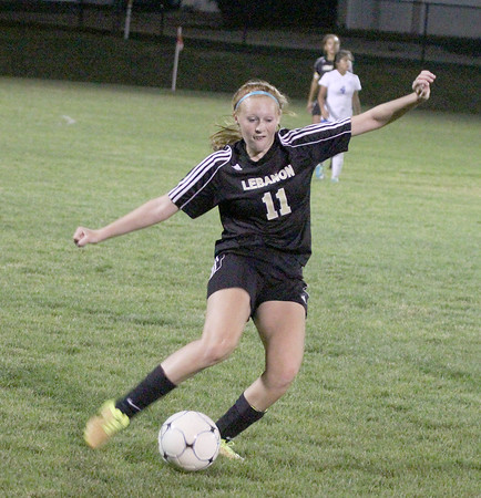 Kirstin Byrd clears the ball out of the midfield in the second half on Wednesday.