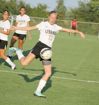 Lebanon's Sara Hammerle clears the ball in the second half on Tuesday.