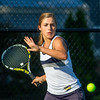 Teutopolis senior and number one Christa Schwinke eyes the ball ahead of her forehand stroke in Mattoon.