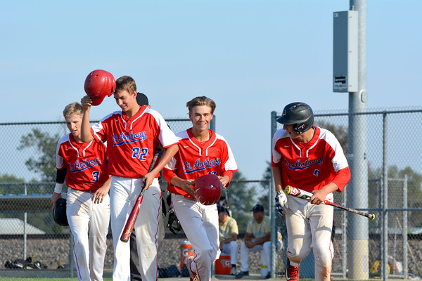 St. Anthony's Joe Kabbes (third from left) celebrates with Ethan Greene (3), Adam Levitt (22) and Drew Gibson (7) after hitting a three-run home run against Teutopolis.