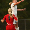 9-25-12<br /> Kokomo vs Logansport soccer<br /> Kokomo High School's Kendra Ryker head butts the ball during the game against Logansport on Tuesday.<br /> KT photo | Kelly Lafferty