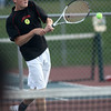 9-27-12<br /> Tennis<br /> Jack Lipchik plays 2 singles for Taylor during the tennis match against Northwestern on Thursday.<br /> KT photo | Kelly Lafferty