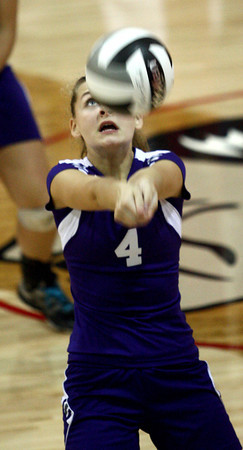 9-6-12<br /> NWHS vs Maconaquah volleyball<br /> Marie Hunkeler digs the volleyball for Northwestern against Maconaquah on Thursday.<br /> KT photo | Kelly Lafferty