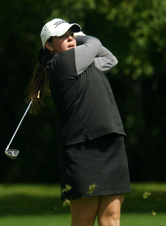 9-14-12<br /> Girls Sectional Golf at Chippendale<br /> Western's Natalie Newlin hitting on the 7th tee.<br /> KT photo | Tim Bath