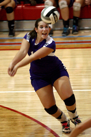 9-6-12<br /> NWHS vs Maconaquah volleyball<br /> Hannah Beachy calls the ball right before she hits it for Northwestern during the volleyball game against Maconaquah on Thursday.<br /> KT photo | Kelly Lafferty