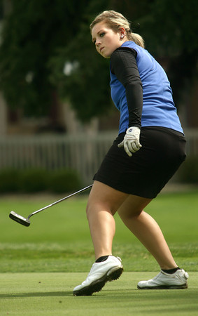 9-14-12<br /> Girls Sectional Golf at Chippendale<br /> Kokomo's Anne Marie Balsbaugh missing a put on 11.<br /> KT photo | Tim Bath