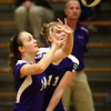 9-19-12<br /> Northwestern volleyball vs Peru<br /> Kelsey Richards, left, and Hannah Ballard keep their eyes on the ball during the game against Peru on Wednesday. Peru won the game in four sets.<br /> KT photo | Kelly Lafferty