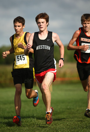9-8-12<br /> Cross Country meet<br /> Western's Matt Grider leads the pack for the varsity boys race at the cross country meet at Maconaquah High School on Saturday morning.<br /> KT photo | Kelly Lafferty