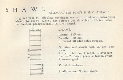 195711 Onderschrift: zie foto Opmerking: patroon voor DHV-das Op de foto van Dames I dit seizoen draagt Jan Broekhuis deze reeds. Vorig seizoen nog een das met brede banen. Zie foto in Bloemendaal van Dames I.  Clubnieuws19 (1957-1958) 11, p. 17