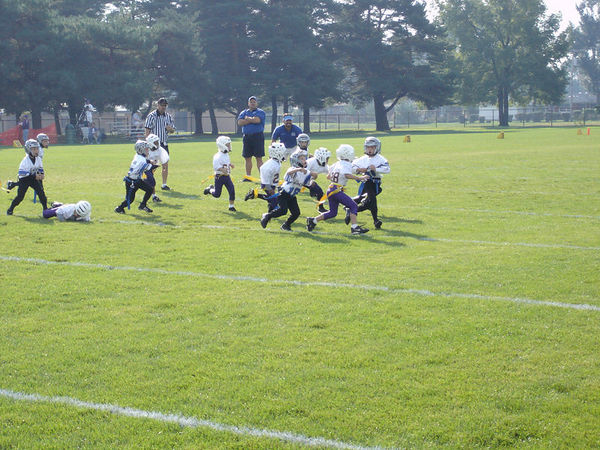 October 2nd, 2005: The 2005 Shelby Lions Football Club Flag team vs. the North Farmington/West Bloomfield Vikings at the Shelby Lions Football Club Field (Shelby 26, North Farmington/West Bloomfield 0).
