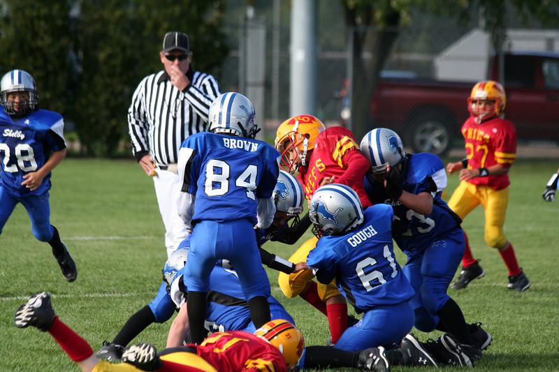 Game #4 - September 15, 2007: The 2007 Shelby Lions Football Club Freshman Team vs. the Royal Oak Chiefs at Royal Oak Memorial Park (Shelby 24, Royal Oak 6).
