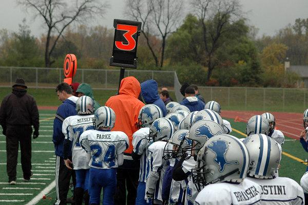 Game #9 - October 21, 2006: The 2006 Shelby Lions Football Club Freshman Team vs. the North Farmington/West Bloomfield Vikings at Farmington High School Field (Shelby 14, NFWB 7).